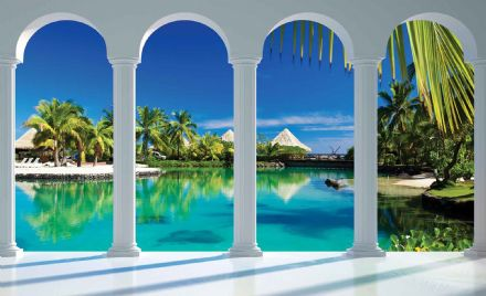 Easy install - wallpaper mural Beach Tropical Paradise Arches 2357VEXXL